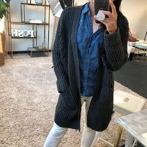 d31082889a3 WonderlustApparel · KRISTINE Charcoal Distressed Knit Cardigan
